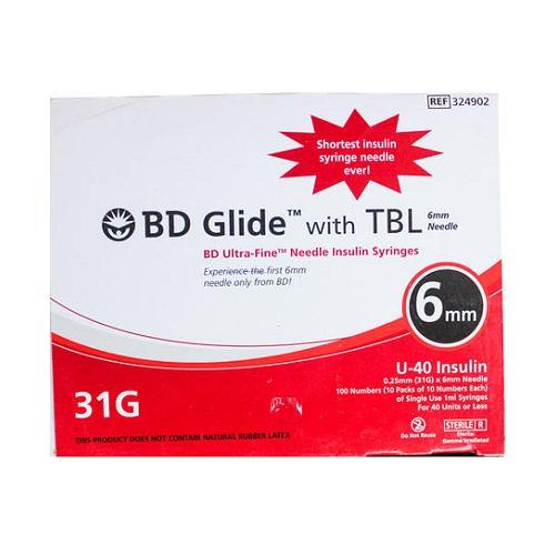 BD Ultra-Fine Needle Insulin Syringe 31Gx6mm(box-100